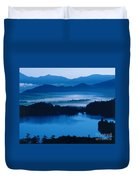Lake And Moor In Mist Duvet Cover