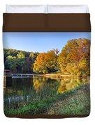 Lake At Chilhowee Duvet Cover by Debra and Dave Vanderlaan