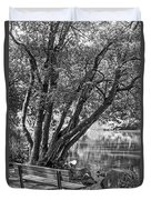 Lake Bench In Black And White Duvet Cover