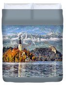 Lake Bled And Mountains Duvet Cover