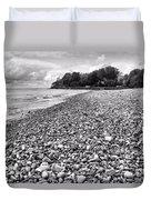 Lake Erie Coast Black And White Duvet Cover