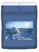 Lake Erie Ice Sunrise Duvet Cover