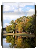 Lake House In Autumn Duvet Cover