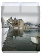 Lake In Front Of A Chateau, Chateau De Duvet Cover