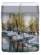 Lake In The Winter Duvet Cover