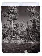 Lake Kayaking Bw Duvet Cover