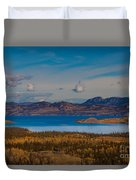 Lake Laberge And Surrounding Taiga In Fall Duvet Cover
