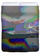 Lake Land And Sky Digitally Painted Photograph Taken Around Poconos  Welcome To The Pocono Mountains Duvet Cover