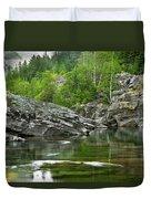 Lake Mcdonald Falls River Glacier National Park Duvet Cover