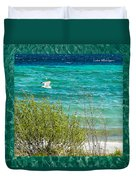 Lake Michigan Seagull In Flight Duvet Cover