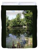 Lake On The Magnolia Plantation With White Bridge Duvet Cover