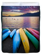Lake Quinault Kayaks Duvet Cover by Inge Johnsson