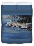 Lake Superior Ice Storm Duvet Cover