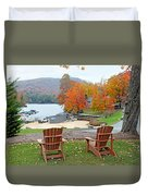 Lake Toxaway Marina In The Fall Duvet Cover