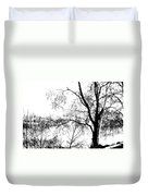 Lake - Tree  -  At The Lake By A Tree Duvet Cover