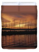 Lake Washington With Mount Rainier And Marina Duvet Cover