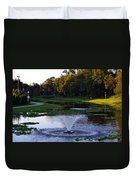 Lake With Fountain Duvet Cover