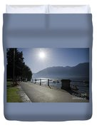 Lakefront With Sun Duvet Cover