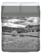 Lamar Valley Looking Towards Specimen Ridge Bw- Yellowstone Duvet Cover