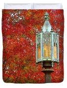 Lamp Post In Fall Duvet Cover