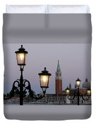 Lampposts Lit Up At Dusk With Building Duvet Cover
