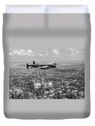 Lancaster City Of Lincoln Over The City Of Lincoln Black And White Duvet Cover