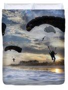 Landing At Sunset Duvet Cover