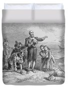 Landing Of The Pilgrims, 1620, Engraved By A. Bollett, From Harpers Monthly, 1857 Engraving B&w Duvet Cover