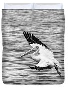 Landing Pelican In Black And White Duvet Cover