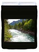 Landscape Of Mcdonald Creek Upstream In Spring In Glacier Np-mt Duvet Cover