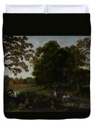 Landscape With A Courtly Procession Before Abtspoel Castle Duvet Cover by Esaias I van de Velde