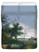 Landscape With A Fox Chasing Geese Duvet Cover
