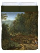 Landscape With A Shepherd And His Flock Duvet Cover