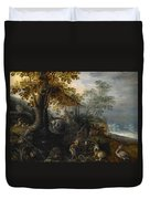 Landscape With Animals Duvet Cover