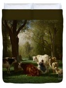 Landscape With Cattle And Sheep Duvet Cover