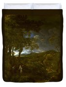 Landscape With Elijah And The Angel Duvet Cover
