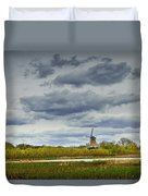Landscape With The Dezwaan Dutch Windmill On Windmill Island In Holland Michigan Duvet Cover