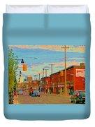 Landsdowne Condos 5th Avenue The Glebe Ottawa Street Scene Paintings Carole Spandau Canadian Art Duvet Cover