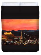 Landshut At Dawn With Alps Duvet Cover