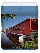 Langley Covered Bridge Michigan Duvet Cover by Steve Gadomski