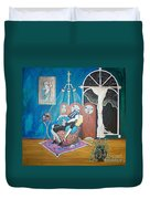 Languid Lady In A Chair Brooding Over Poetry Duvet Cover