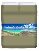 Lanikai Bellows And Waimanalo Beaches Panorama Duvet Cover