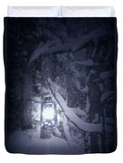Lantern In Snow Duvet Cover by Joana Kruse