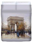 L'arc De Triomphe Paris Duvet Cover by Eugene Galien-Laloue
