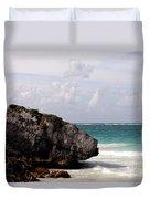 Large Boulder On A Caribbean Beach Duvet Cover