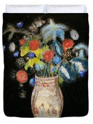 Large Bouquet On A Black Background Duvet Cover by Odilon Redon