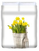 Large Bucket Of Daffodils Duvet Cover by Amanda Elwell