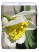 Large-cupped Daffodil Named Ice Follies Duvet Cover