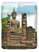 Large Sitting Buddha At Wat Mahathat In 13th Century Sukhothai H Duvet Cover