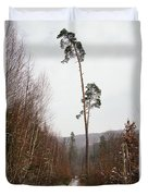 Large Trees In The Nature Park In Winter Duvet Cover